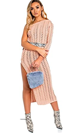 41df5ad2a661 Ikrush Womens Emy Knitted Side Split One Shoulder Dress: Amazon.co ...