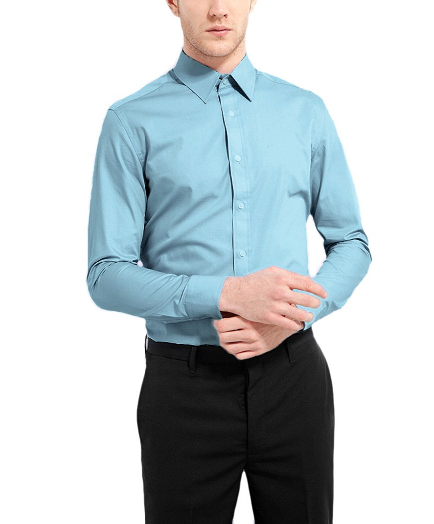 NUTEXROL Men's Casual Cotton Polka Dots Long Sleeve Dress Shirts EV-ZQ88-ROVS
