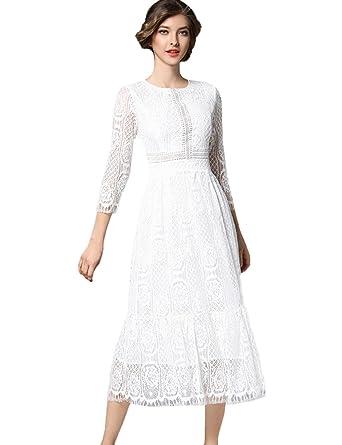 Amazoncom Aikosha Womens Floral Lace Overlay Midi Dress