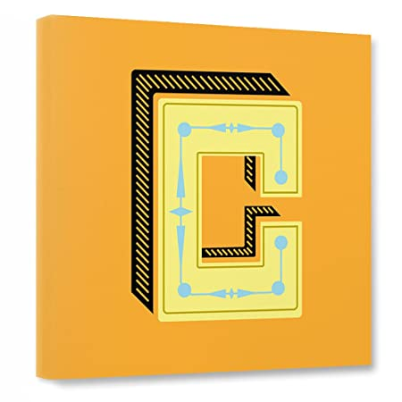 Artboxone Canvas Wall Art Orange Geometrical C Yellow Canvas Wall ...