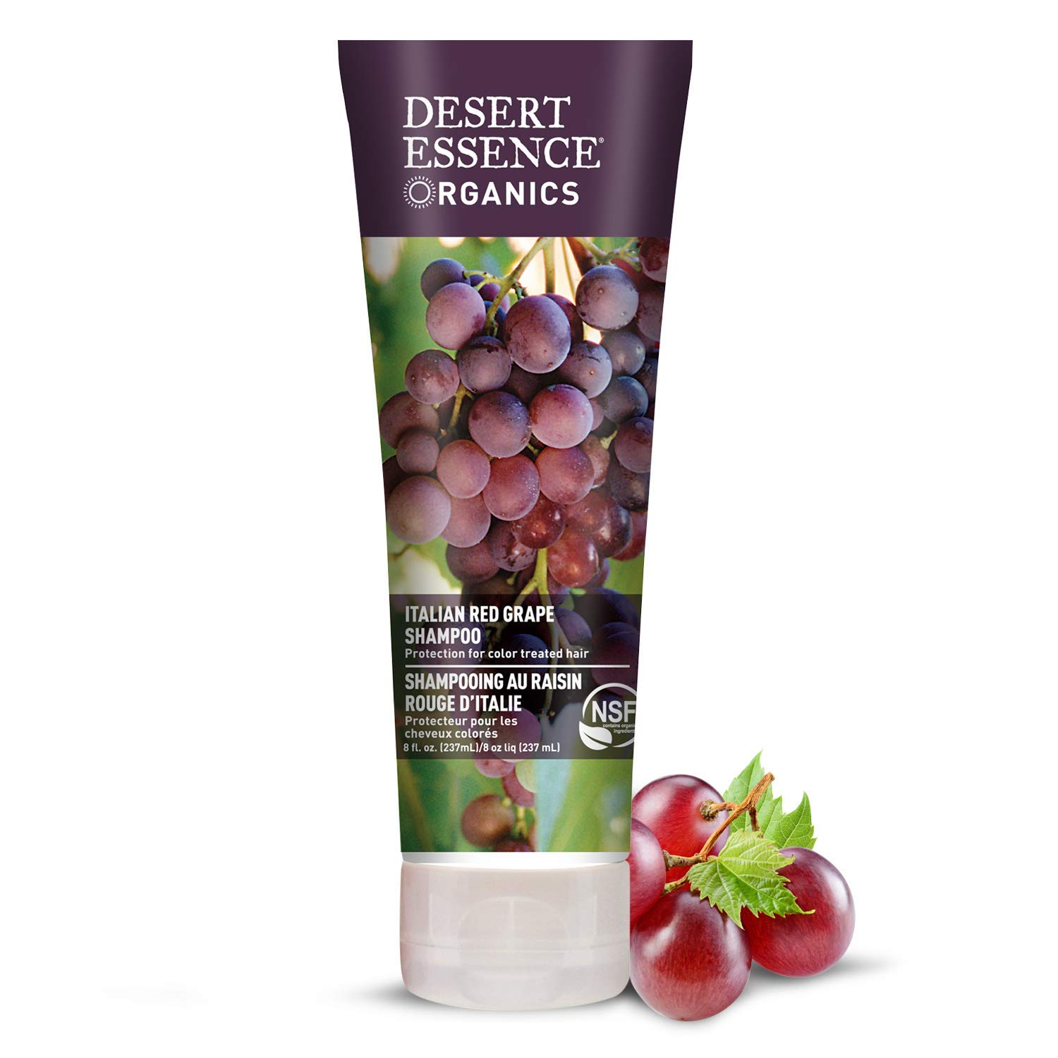 Desert Essence Organics Italian Red Grape Shampoo - 8 Fl Oz - Pack of 2 - Protection For Color Treated Hair - Antioxidants - Healthier & Smoother - Vitamin B5 - Sugar & Coconut Oil Cleansers
