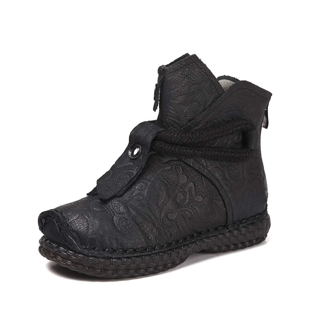 DANDANJIE Damen Stiefeletten handgemachte Stiefel Vintage Flache Ferse Stiefelies mit kreativen Toe Schuhe für den Herbst und Winter