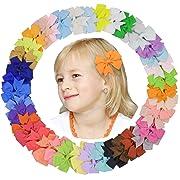 DEEKA 40PCS 3  Pinwheel Grosgrain Ribbon Clips Bows Solid Colors Alligator Clips Hair Bows For Baby Girls