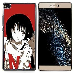 """Qstar Arte & diseño plástico duro Fundas Cover Cubre Hard Case Cover para Huawei Ascend P8 (Not for P8 Lite) (Historieta linda chica japonesa"""")"""