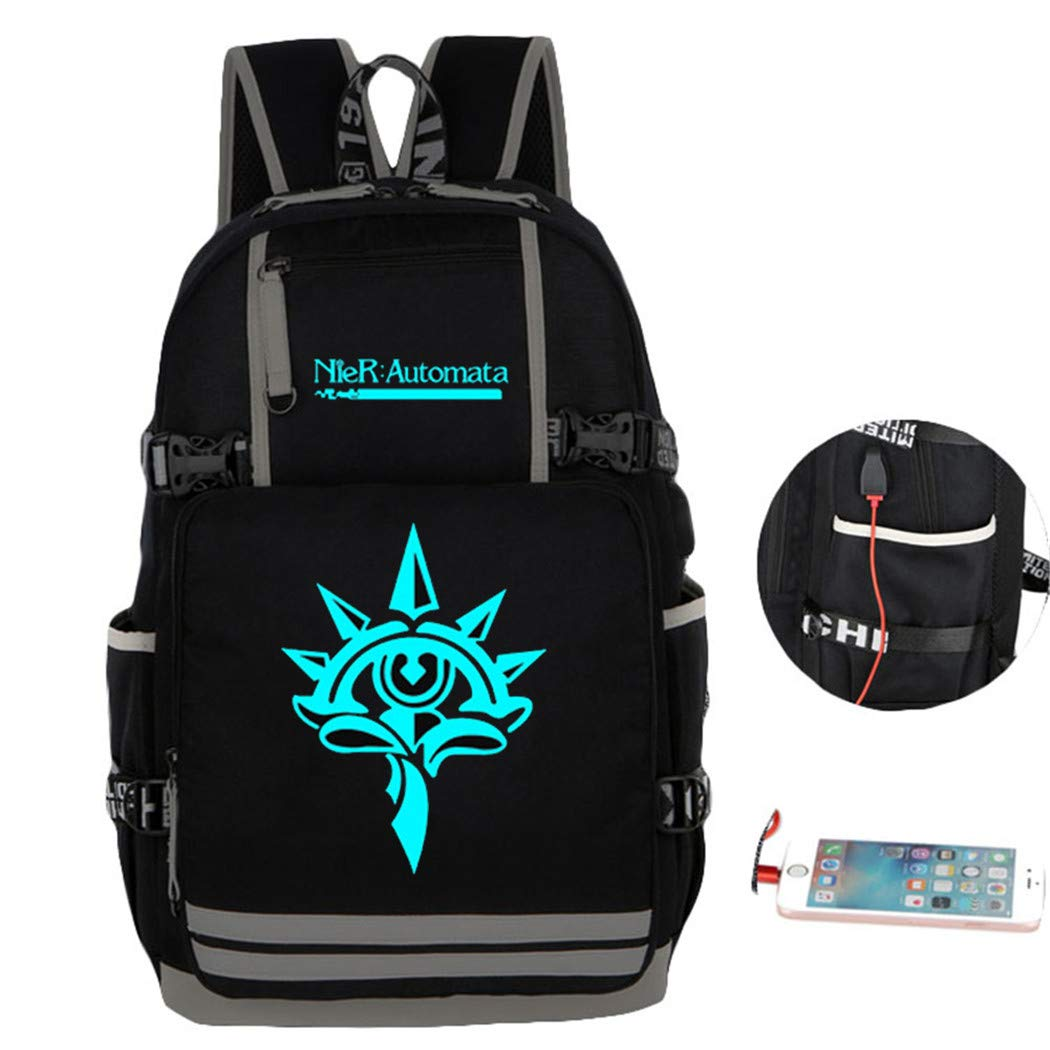 Cosstars Lumineux Nier:Automata Sac ¨¤ Dos Cartable Laptop Backpack avec USB Charging Port pour ?Tudiant