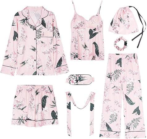 Pijama de Pijama de algodón de Manga Larga para Mujer se Puede Usar Fuera del Traje de algodón de Siete Piezas -A_M: Amazon.es: Hogar
