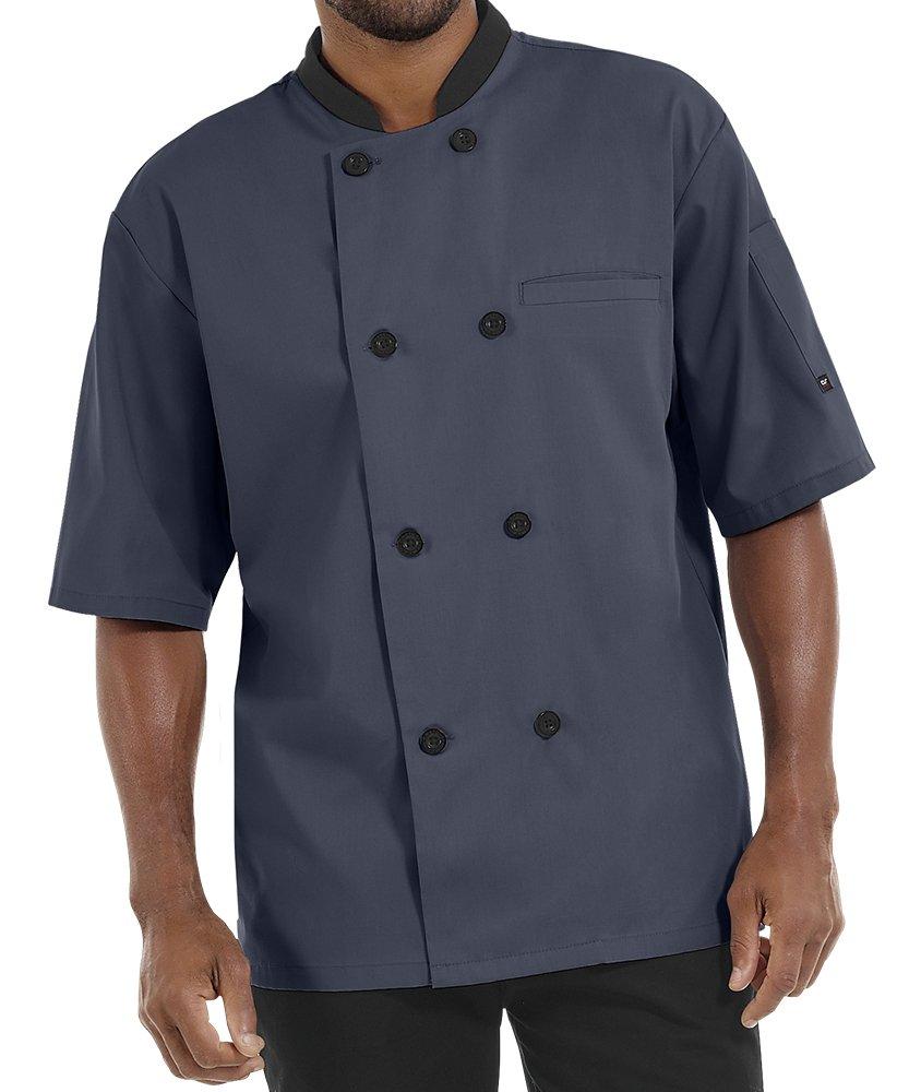 Men's Lightweight Short Sleeve Chef Coat (S-5X, 3 Colors) (X-Large, Granite/Black)