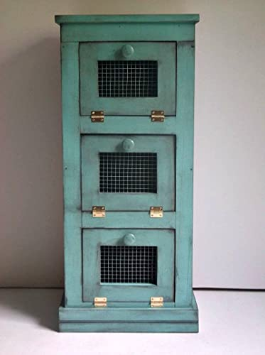 Merveilleux Distressed Onion U0026 Potato Vegetable Bin, Handmade Flat Top Rustic Teal Veggie  Storage Solid Wood