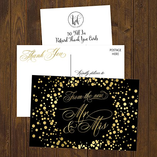50 4x6 Black & Gold Modern Thank You Postcards Bulk, Cute Blank Thank You Cards From The New Mr. and Mrs. Thanks Note Card Stationery Set For Wedding Gifts, Bridesmaid, Bridal Shower, Engagement Party Photo #5