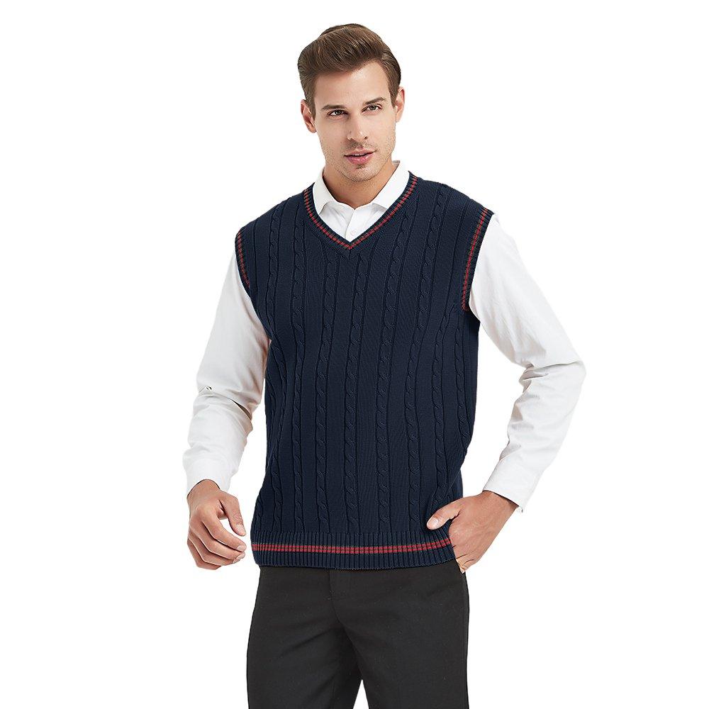 TopTie Men's V-Neck 100% Cotton Knit Sweater Vest