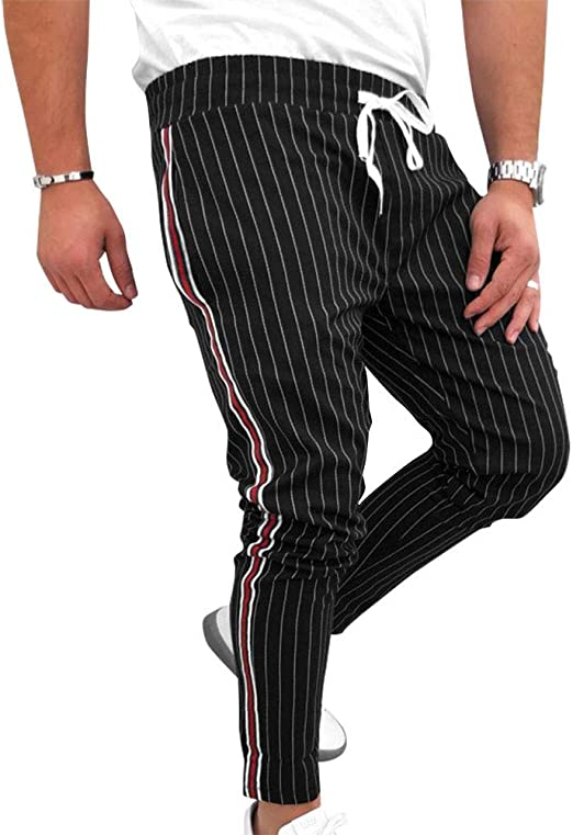 iSunday Pantalones de Moda Casuales a Rayas con cordón Ajustable ...