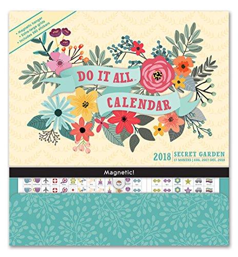 Orange Circle Studio 2018 Do It All Magnetic Wall Calendar, Aug. 2017 - Dec. 2018, Secret Garden