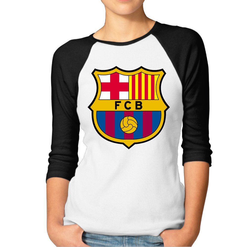 04eec3f0c Women s Football Club FC Barcelona Classic Logo Vintage 3 4 Sleeve Raglan  Sleeves at Amazon Women s Clothing store