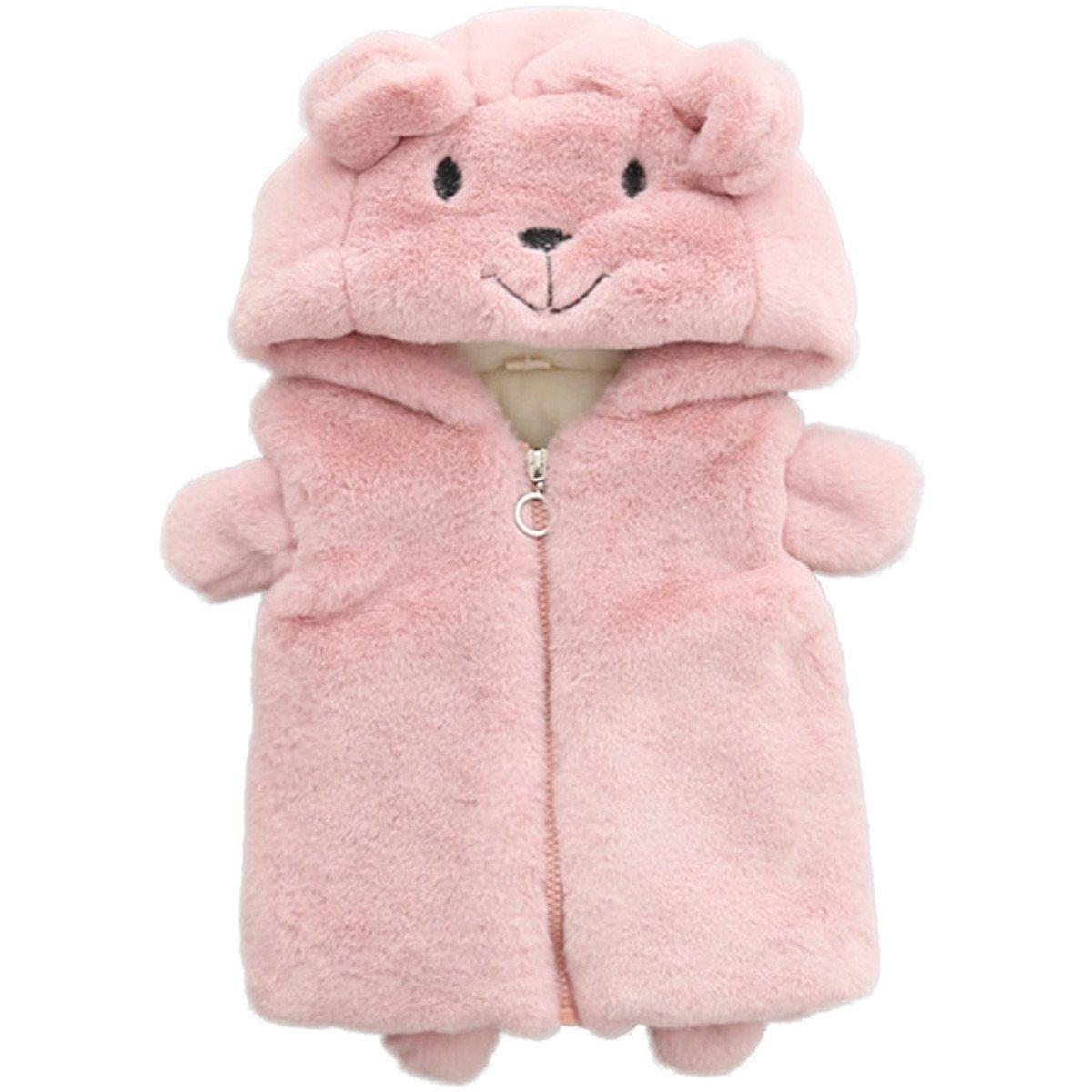 REWANGOING Bbay Kids Little Girls Kids Faux Fur Lovely Cartoon Bear Hoodie Vest Waistcoat Coat Outwear
