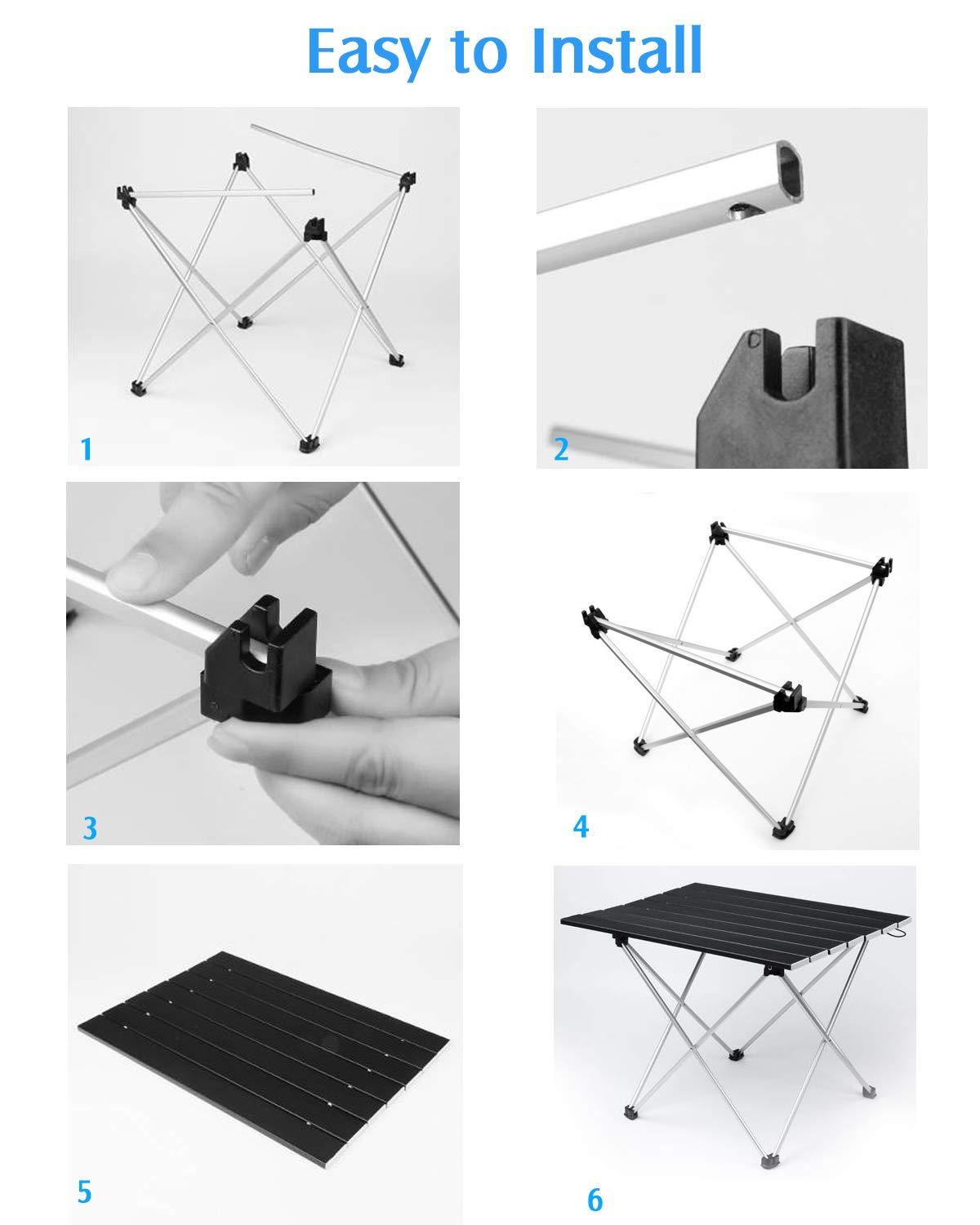 Camping Table Utility Folding Table with Aluminum Table Top Portable Carry Bag, Outdoor Foldable Table for Picnic Camp Beach Dinner