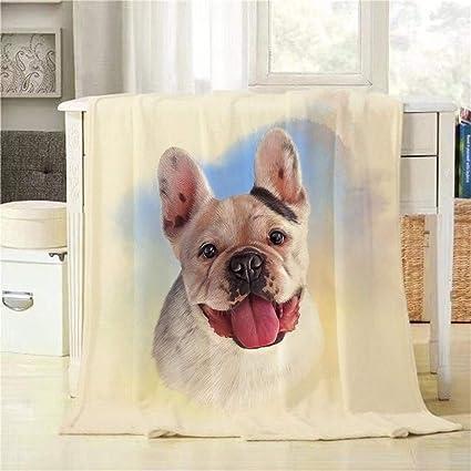 Mugod Manta para Perro Bulldog francés, Manta de Acuarela para Perro, Retrato, Decorativa