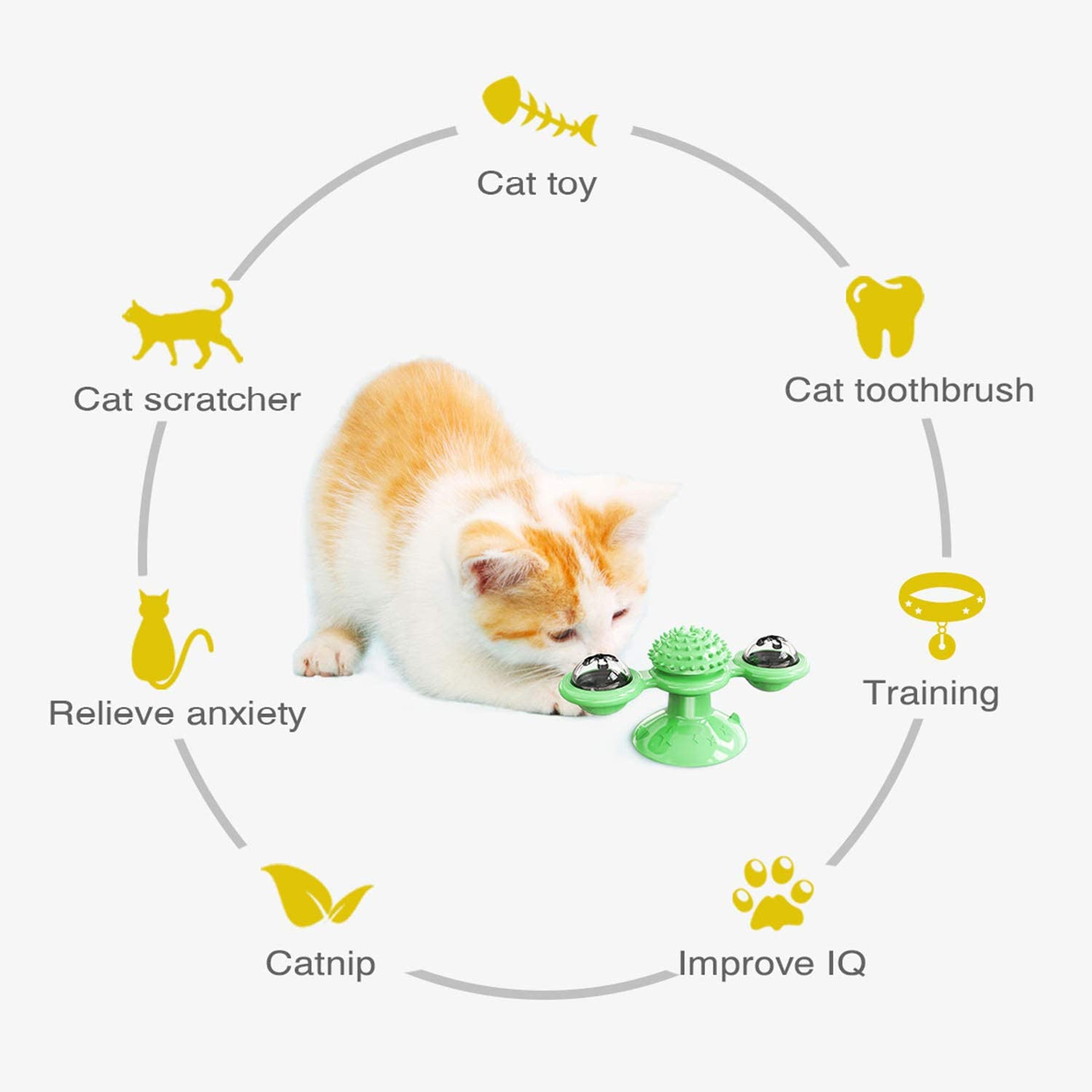 Safe Fun Kitten Toys Cat Teasing Excites Your Feline Zastone Windmill Cat Toy With Suction Cup And Lights Green Interactive Chew Toys Quiet Rotatable Catnip Kitty Toys For Cats Play Toys Mishavig