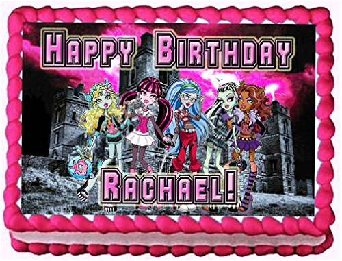 "Monster High ""Night School"" 1/4 Sheet Edible Photo Birthday Cake Topper~ Personalized!"
