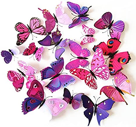 Amazon Com Coxeer 3d Butterfly Wall Decor Removable Butterfly Wall Art Vivid Butterflies Wall Decor With Foam Dot Glue For Home And Room Decoration Purple Posters Prints