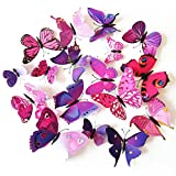 apartment living room decorating ideas Coxeer 3D Butterfly Wall Decor, Removable Butterfly Wall Art Vivid Butterflies Wall Decor with Foam Dot Glue for Home and Room Decoration (Purple)