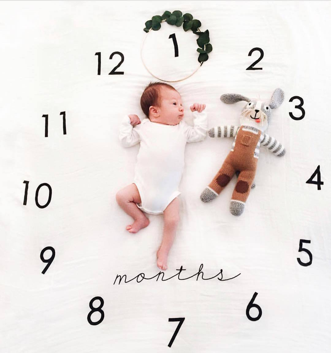 JINLE Baby Milestone Fleece Blanket Photography Background Prop: Growing Infants & Toddlers