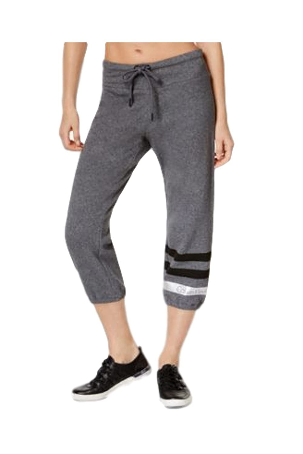 Calvin Klein Performance Cotton Metallic Stripe Cropped Sweatpants In Grey