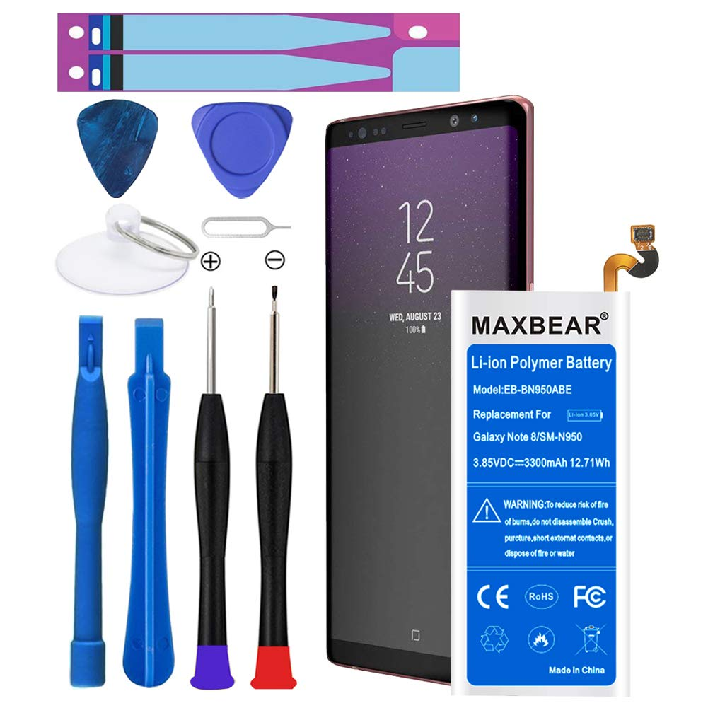 Galaxy Note 8 Battery,MAXBEAR 3300mAh Li-Polymer Built-in Battery EB-BN950ABE Replacement for Samsung Galaxy Note 8 SM-N950 N950T N950A N950P N950V N950R4 with Free Tool. [12 Month Warranty] by MAXBEAR