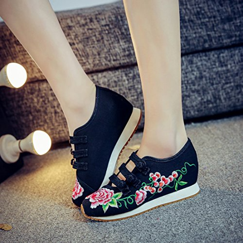 Chinese Womens Black Shoes Shoes Walking Casual Embroidered Sport JTENGYAO qT7gxv57