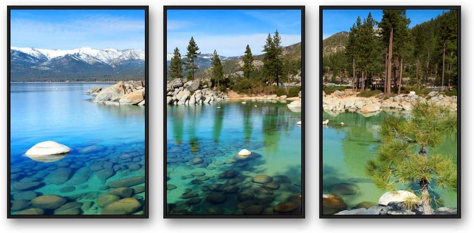 IDEA4WALL 3 Piece Framed Canvas Wall Art for Living Room, Bedroom Lake Tahoe Canvas Prints for Modern Home Decoration Ready to Hang - 24