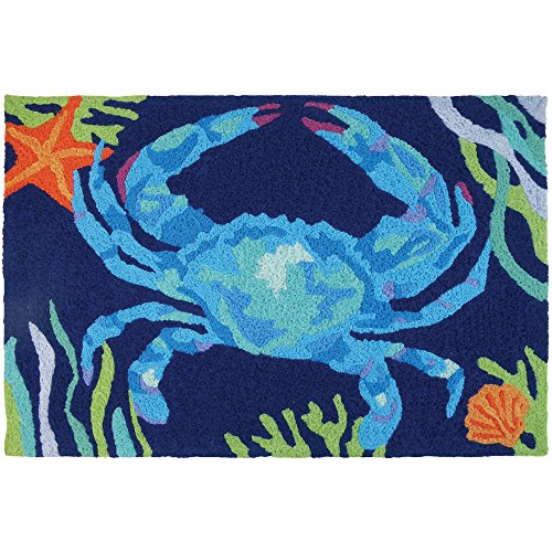 Jellybean Deep Blue Crab Coastal Indoor/Outdoor Machine Wash