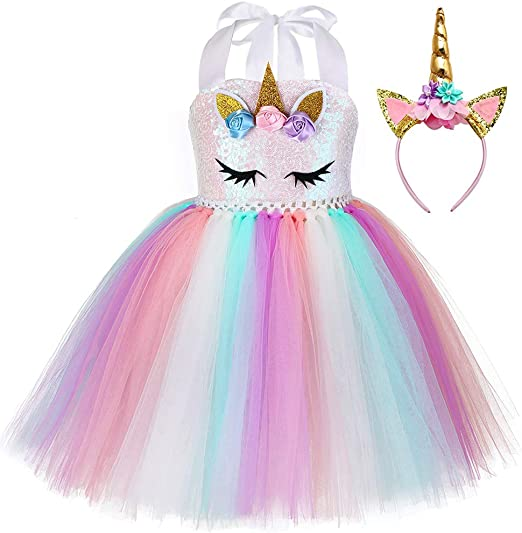 Flower Girl Unicorn Rainbow Dress Princess Party Costume for 1st Birthday Outfit