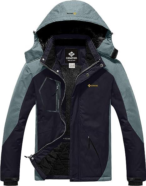 GEMYSE Giacca da Sci da Montagna Impermeabile da Uomo in Pile Antivento Cappotto Invernale allaperto con Cappuccio