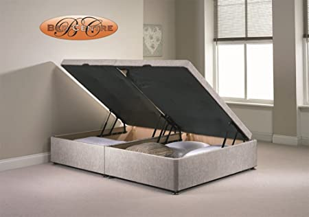 e4a1e6348918 Divan Ottoman Side Lift Storage Bed Single 4'6 Double 5ft King Size  Chenille (4FT Small Double, Silver): Amazon.co.uk: Kitchen & Home