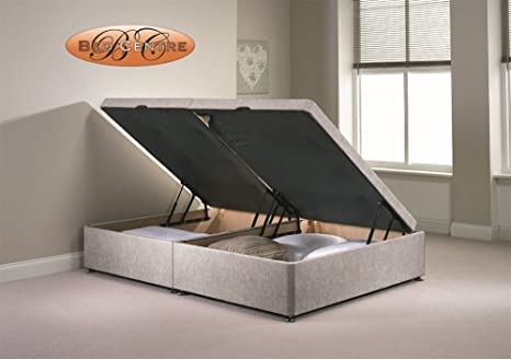 on sale fd371 96324 Divan Ottoman Side Lift Storage Bed Single 4'6 Double 5ft King Size  Chenille (4FT Small Double, Silver)