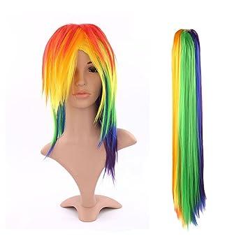 Discoball® Womens ladies sexy cola larga recta peluca llena de Rainbow Dash cosplay traje parte de pelo de lujo: Amazon.es: Ropa y accesorios