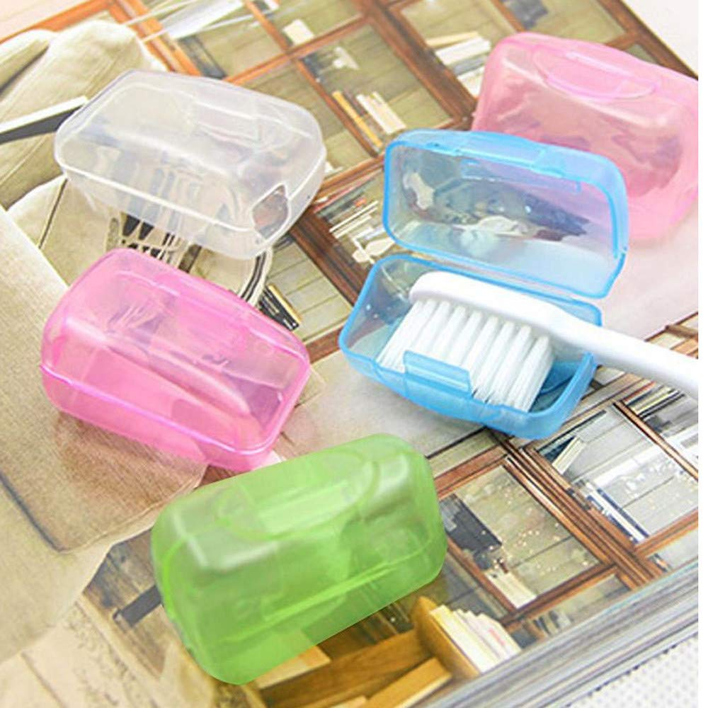 ForgetMe 5 Pieces Travel Portable Toothbrush Head Covers Case Camping Brush Cleaner Protect, Toothbrush Cover, Hygienic and Antimicrobial Toothbrush Holder for Camping, Toothbrush Protective Case
