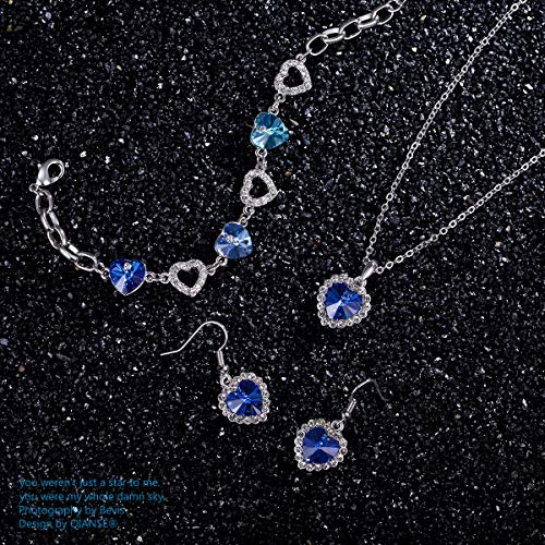 70db1ef39 ... QIANSE Jewellery Set for Women Heart of Ocean Sapphire Jewelry Set Gifts  for Women Swarovski Crystals ...