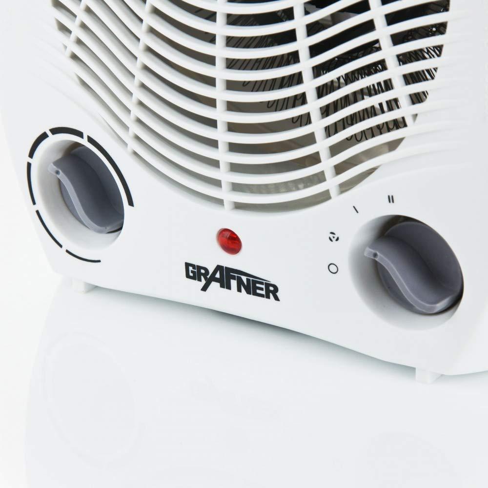 1 Kaltstufe | Kippsicherung Grafner/® Heizl/üfter /Überhitzungsschutz Werkst/ätten Ventilator automatischer Thermostat Wohnr/äume B/üros 2000 Watt dieal f/ür Badezimmer 2 Heizstufen