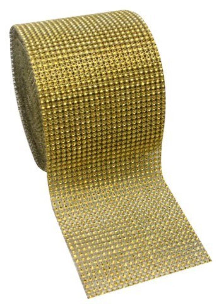 Gold Diamond Rhinestone Mesh Ribbon, Wedding Ribbon, Diaper Cake Ribbon, 4.75 x 10 Yards, 24 Row, 1 Roll 4.75 x 10 Yards Super Z Outlet na