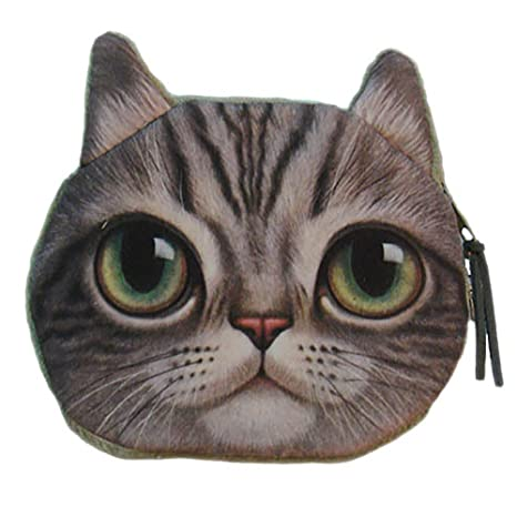 Niños pequeños cute cat Face Animal Monedero infantil cartera maquillaje bolso de la bolsa de embrague