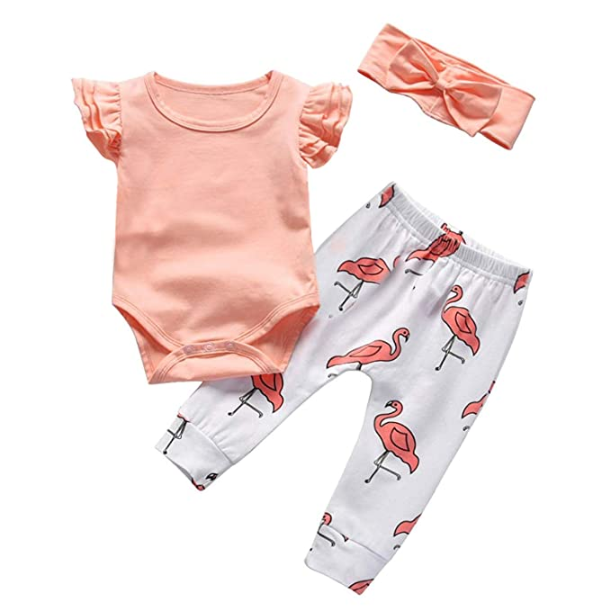 0afafb5ce8d10 Baby Girl Clothes Pink Ruffle Sleeveless Bodysuit Infant Romper Flamingo  Pants with Headband 3Pcs Summer Outfits