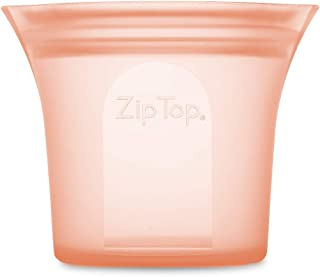 product image for Zip Top Reusable 100% Silicone Food Storage Bag and Container - Short Cup - Peach