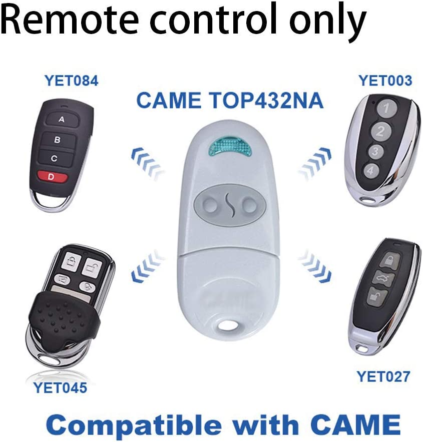 T/él/écommande portail 433 MHz Universel Cl/é Fob 2 Bouton /émetteur Porte Garage T/él/écommande Pour Came TOP432NA//432 SA//432 M comme Montr/é