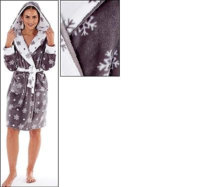Winter Woodland Snuggle Hooded Dressing Gown Robe Lounge Wear Super Soft Fleece