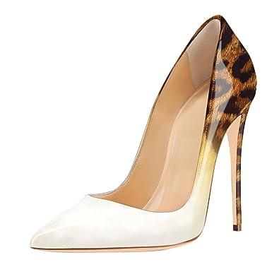 620692770e53 Damen Pumps High-Heels Stiletto Glitzer Lackleder Gradient Leoparden Weiß  EU35