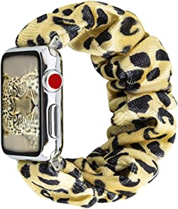 Scrunchie Elastic Band Compatible for Apple Watch Band 38mm 40mm 42mm 44mm, women Cloth Cow Print Replacement Wristband for IWatch Series 6 5 3 4 2 1,42mm 44mm Yellow Leopard