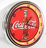 Coca Cola Bottle 15″ Neon Lighted Wall Clock Red Review