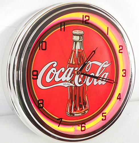 "Coca Cola Bottle 15"" Neon Lighted Wall Clock Red"