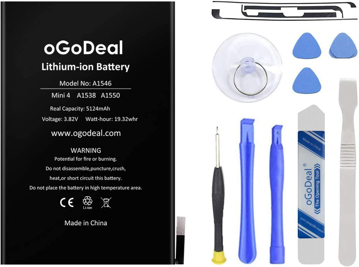 OGoDeal A1546 Battery Replacement Kit Compatible with Apple iPad Mini 4 A1538, A1550 5124mAh with Repair Tools and Screen Adhesive