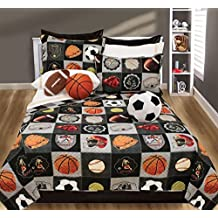 2 Piece Kids Ball Sports Themed Quilt Set Twin Size, Socker Basketball Baseball Tennis Balls Printed Design Bedding, All Star Motif Sports Fan League Children Boys Bedroom, Black, Multicolor